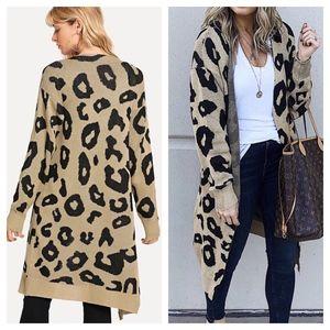 Sweaters - Open Front Leopard Print Cardigan